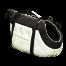 Torba Transportowa z białej pikowanej ekoskóry z czarną alcantarą