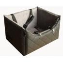 Fotelik samochodowy z czarnej pikowanej ekoskóry z popielatą alcantarą